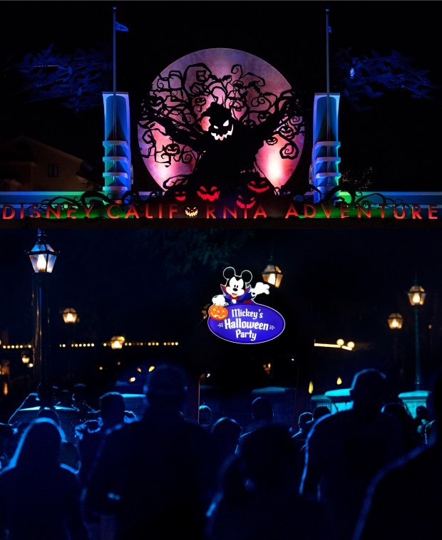 Halloween is back at Disney California Adventure for the first time in several years, top, where a menacing Oogie Boogie silhouette hovers at the entrance. A less frightful and more delightful Mickey's Halloween Party will conclude Oct. 31st. (Photo by Cindy Yamanaka, Orange County Register/SCNG)