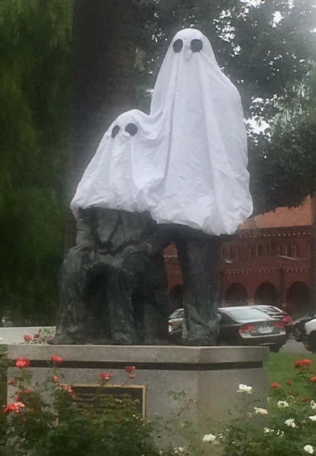 The Smiley brothers statue outside the A.K. Smiley Public Library in Redlands is in costume for Halloween. (Photo by John Oliver)