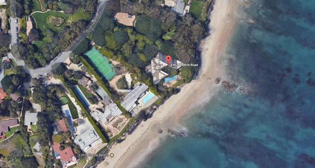 "Late ""Tonight Show"" host Johnny Carson's Malibu home at 6962 Wildlife Road is seen in a satellite image. It is located just northeast of Point Dume. The home is being sold by current owners Sidney and Caroline Kimmel with an asking price of $81.5 million. (Google Maps)"