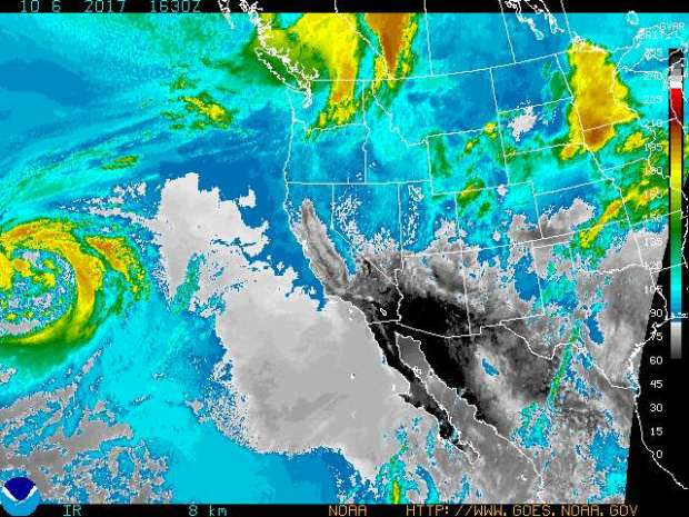 High temperatures, dry conditions and gusty offshore winds are increasing fire danger Friday, Oct. 6, 2017, in Southern California. (Enhanced infrared satellite image by the National Weather Service)