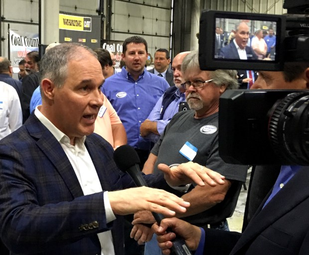 EPA Administrator Scott Pruitt says the Trump administration will abandon the Obama-era clean power plan aimed at reducing global warming. (AP Photo/Adam Beam)
