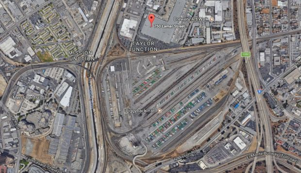 A freight train derailed early Friday, Oct. 13, 2017, in downtown Los Angeles. (Google Maps)