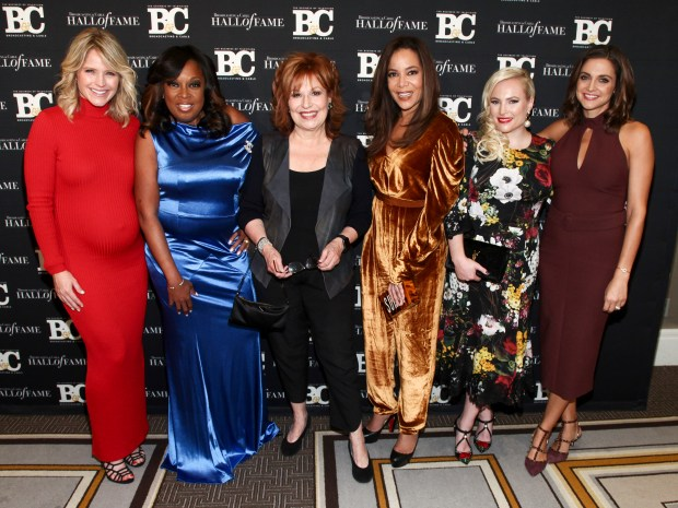 Sara Haines, from left, Star Jones, Joy Behar, Sunny Hostin, Meghan McCain and Paula Faris pose in the press room at the Broadcasting & Cable Hall of Fame Awards 27th Anniversary Gala at the Grand Hyatt New York on Monday, Oct. 16, 2017, in New York. (Photo by Andy Kropa/Invision/AP)