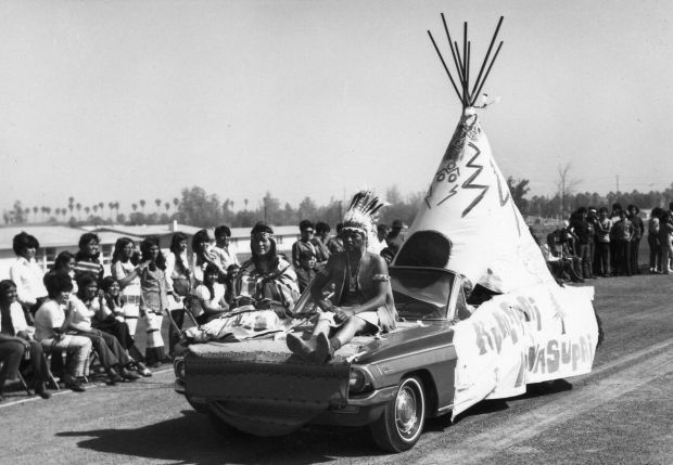 Students from the Hualapai and Havasupai tribes decorated this convertible with a makeshift tepee for a Sherman Day celebration. The students may have been expressing their sense of humor and calling attention to a stereotype, as neither the Hualapai nor Havasupai people of Arizona used tepees.