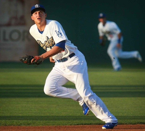 Corey Seager, then a Rancho Cucamonga Quakes infielder, during a home game on Thursday, June 5, 2014. Seager is now a star for the Dodgers. (File photo by David Bauman, The Press-Enterprise/SCNG)