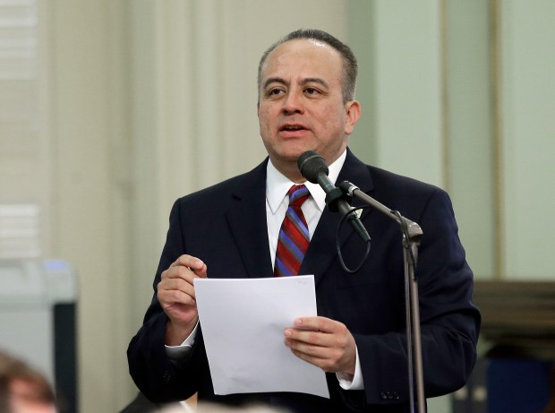 "In this May 4, 2017 file photo, Assemblyman Raul Bocanegra, D-Los Angeles, speaks at the Capitol in Sacramento, Calif. Bocanegra is apologizing for sexually harassing a woman in 2009 when he was a legislative staff member. He is the first sitting California lawmaker to be publicly identified for facing discipline over sexual harassment allegations since a letter was circulated last week saying there is a ""pervasive"" culture of sexual harassment at the Capitol. Bocanegra was quoted in the Los Angeles Times Friday, Oct. 27, 2017 that he is ""deeply regretful."""