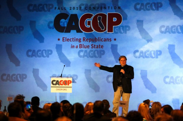 Steven Bannon, a former top strategist to President Donald Trump, addresses the California Republican Party convention in Anaheim on Oct. 20.