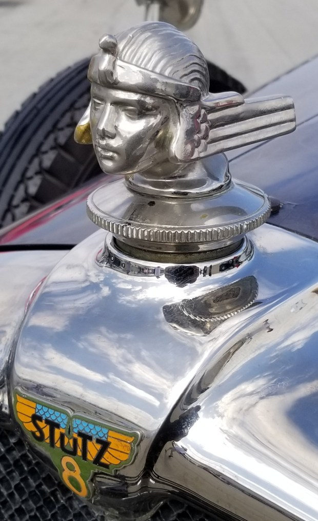 A stylish hood ornament on a vintage Stutz at the Palos Verdes Concours d'Elegance. (Photo by Tom Bray)