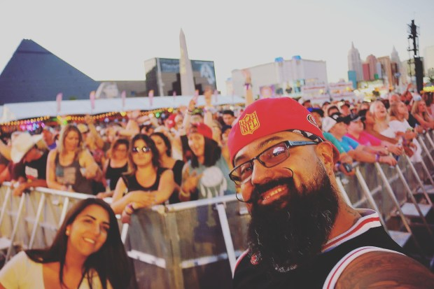 Photographer Dennis Guerrero, of Montebello, shot this selfie at the Route 91 Harvest Festival Sunday about an hour before gunshots rained down on the festival. He survived and helped several people get to safety before returning home to Montebello. (Courtesy of Dennis Guerrero)