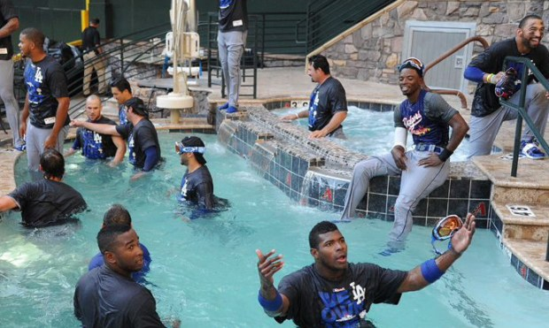 The Dodgers' NL West-clinching pool party at Chase Field in Sept., 2013 is something Arizona fans still have not forgotten. (Photo by Jon SooHoo/Los Angeles Dodgers)