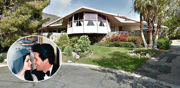 The Palm Springs home where Elvis and Priscilla Presley spent their 1967 honeymoon has been on and off the market for years. (House: Google Maps; Inset: AP photo; Composite by Marilyn Kalfus, Orange County Register/SCNG)
