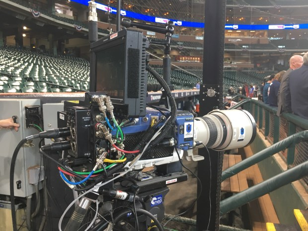 The Fox Phantom Cam, named after the company that produces it, captures batters swings for the Fox MLB postseason coverage (Photo courtesy of Fox Sports)