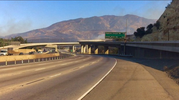 A rare sight: Officials closed the 91 Freeway toward Riverside County for several hours as the Canyon Fire 2 raged nearby. (Courtesy of Patrick Smith)
