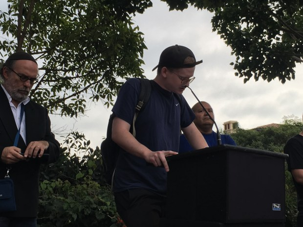 Galen Landsberg, a plaintiff in a class-action suit filed on behalf of Terranea Resort employees, spoke at a demonstration Thursday. The suit alleges the luxury hotel committed wage violations.