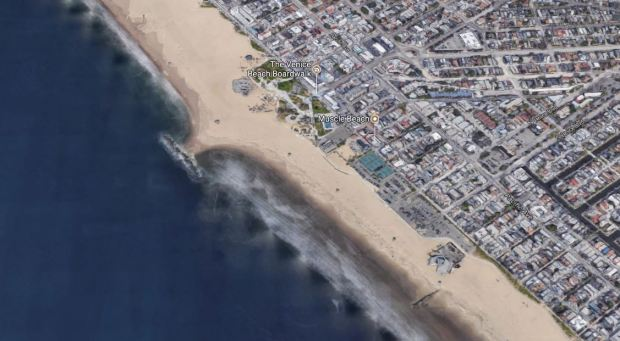 The body of a woman found early Thursday, Oct. 12, 2017, on the shore near the 1500 block of Ocean Front Walk in Venice has been identified. (Google Maps)