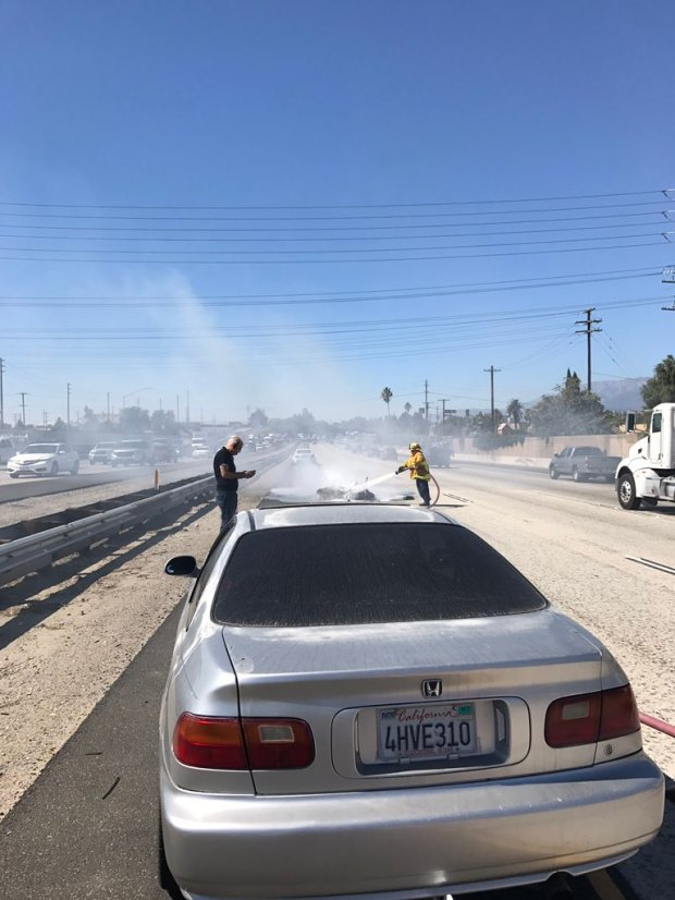 A motorcycle caught fire following a crash on the westbound 10 Freeway near Rancho Avenue in Rialto.