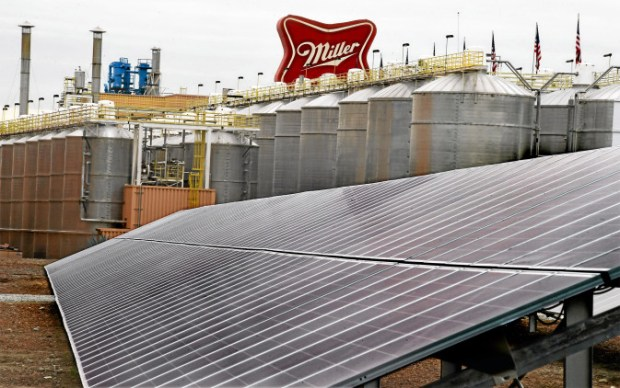MillerCoors solar farm on Jan. 29, 2015, billed as the largest brewery solar array in the United States..(Photo by Walt Mancini/Pasadena Star-News)