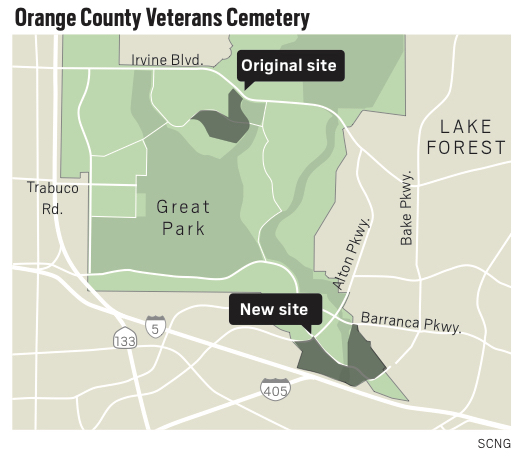 This map shows the original site where the Irvine City Council in 2014 designated to put a state-run veterans cemetery, as well as the new site. (Jeffrey Goertzen, Orange County Register/SCNG)