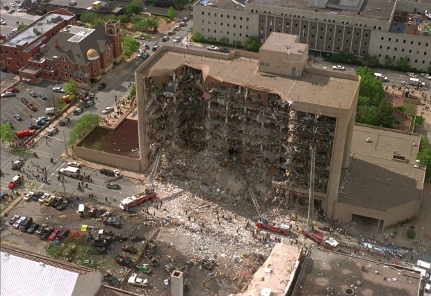The north side of the Alfred P. Murrah Federal Building in Oklahoma City is shown missing after a truck bomb explosion, in this Wednesday, April 19, 1995, file photo. (AP Photo/File)