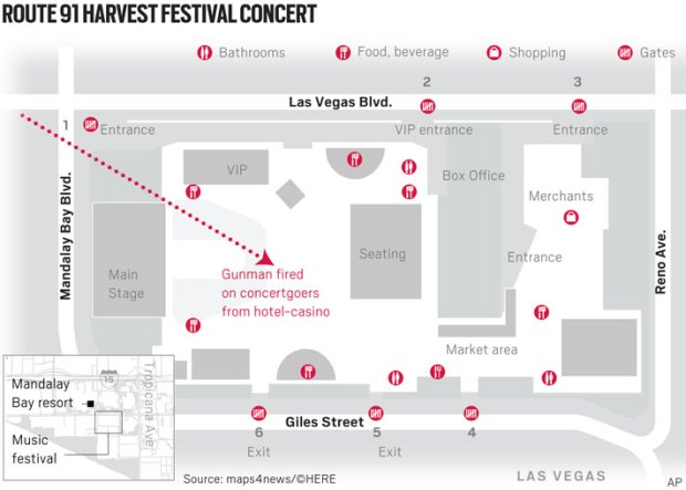 Map This Is Where The Las Vegas Mass Shooting Happened Orange