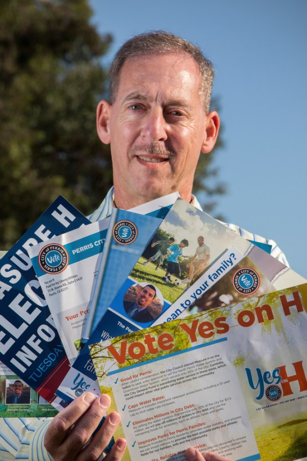 Perris resident Bruce Hoffman has received countless political ads from Liberty Unities for the upcoming vote on proposition H Wednesday, November 1, 2017. ANDREW FOULK