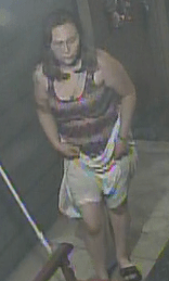 Woman wanted in connection with attempted burglary and vandalism in downtown Riverside in July. (Photo courtesy of Riverside Police Department)