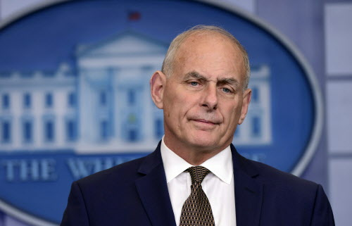 White House Chief of Staff John Kelly listen to a reporter's question during the daily briefing at the White House in Washington, Thursday, Oct. 12, 2017. (AP Photo/Susan Walsh)
