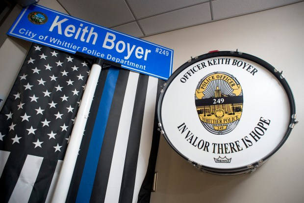 A bass drum in memory of slain Whittier Police Officer Keith Boyer is displayed at the entry of the Whittier Police Department pictured October 6, 2017. Boyer was an avid drummer/musician. (Photo by Leo Jarzomb, SGV Tribune/ SCNG)