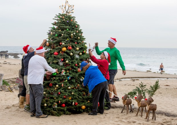 Volunteers decorating the Crystal Cove Beach Cottages make final touches to the Christmas tree decorations on last year in preparation for the tree lighting. The event is sponsored by the Crystal Cove Alliance. LEONARD ORTIZ, ORANGE COUNTY REGISTER