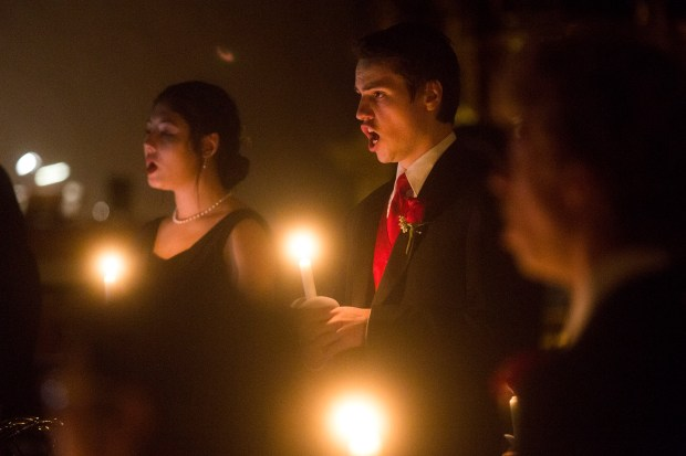 Griffin Howard of J Serra Catholic High School's choir perform in the sixth annual Christmas concert at Mission Basilica San Juan Capistrano on Friday, December 16, 2016. (Drew A. Kelley, Contributing Photographer)
