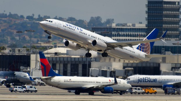 A United jet takes off at LAX in Los Angeles on Thursday, August 3, 2017. The EPA says aircrafts account for a tenth of the nation's transportation related greenhouse gasses. And there's an international effort afoot to cut down pollution created in the air. (Photo by Scott Varley, Press-Telegram/SCNG)
