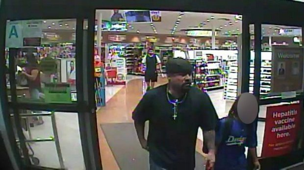 Glendale police are looking for this man, who allegedly used the child seen here to help steal liquor and candy on Oct. 26, 2017, from this Rite-Aid at 707 N. Pacific Ave. in Glendale. (Photo courtesy of the Glendale Police Department)