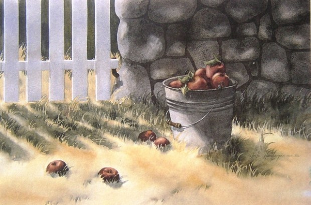 """""""Harvest Bucket"""" is one of Sheila Hansberger's watercolor paintings. (Courtesy Photo)"""