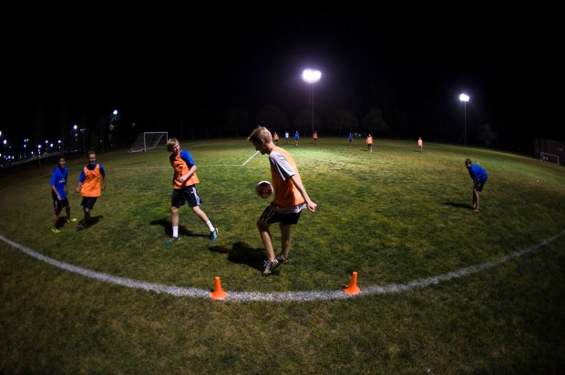 Soccer players practice at Mile Square Regional Park in the evening. Many parents support a year-round Daylight Savings Time.(File photo by ROD VEAL, ORANGE COUNTY REGISTER/SCNG)