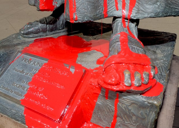 A man tried to decapitate St. Junipero Serra statue at Mission San Gabriel at 1:15 a.m. Friday morning. A surveillance video showed that the man stopped before he could completely saw through the neck, and then he threw red paint on it. Vandalism of Junipero Serra's statues at missions began in the northern part of the state ever since Pope Francis deified him. (Photo by Walt Mancini/Pasadena Star-News/SCNG)