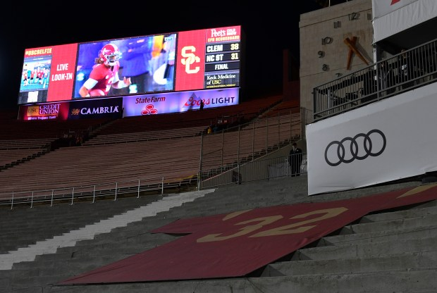 The retired No. 32 O.J. Simpson jersey is featured in the peristlye entrance of the Coliseum. USC played Arizona in a NCAA college football game at the Los Angeles Memorial Coliseum on Nov. 4, 2017. (Photo by John McCoy, Los Angeles Daily News/SCNG)