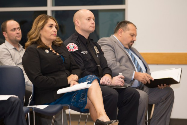 Assemblywoman Sharon Quirk-Silva, Jon Neal from Costa Mesa Fire Department Code Enforcement, and City Costa Mesa Community Improvement Manager Fidel Gamboa.