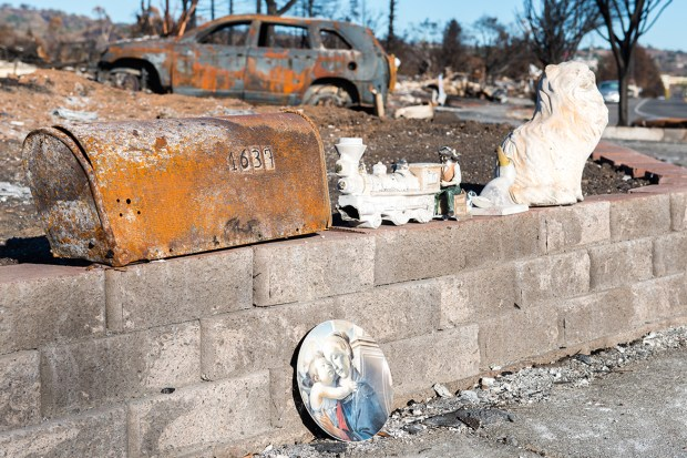 Remnants from the fire in the Coffey Park neighborhood of Santa Rosa, Calif., on Oct. 27, 2017. (Heidi de Marco/KHN)