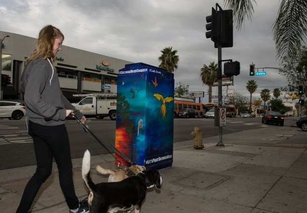 Artist Camellia Steele's utility box mural is at the corner of Ventura Boulevard and Noble Avenue in Sherman Oaks. (Photo by Ed Crisostomo, Los Angeles Daily News/SCNG)