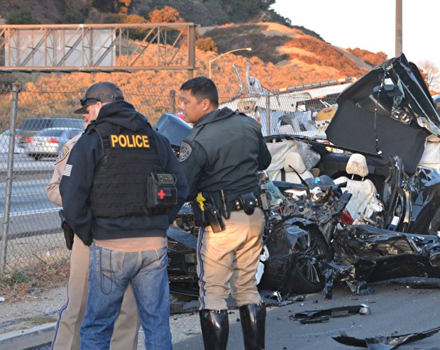 A 29-year-old man from Stevenson Ranch died Tuesday, Nov. 14, 2017, in a crash between his Infiniti sedan and a dump truck on The Old Road south of Weldon Canyon Road and north of the 5 Freeway in Santa Clarita. (Photo by Rick McClure/Special to the Los Angeles Daily News)