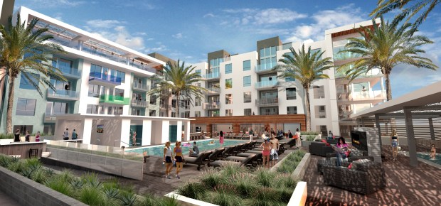 Two new luxury apartment developments, planned for Warner Center in Woodland Hills, are making progress. A rendering for Q East at 6200 Variel Ave. (Courtesy)