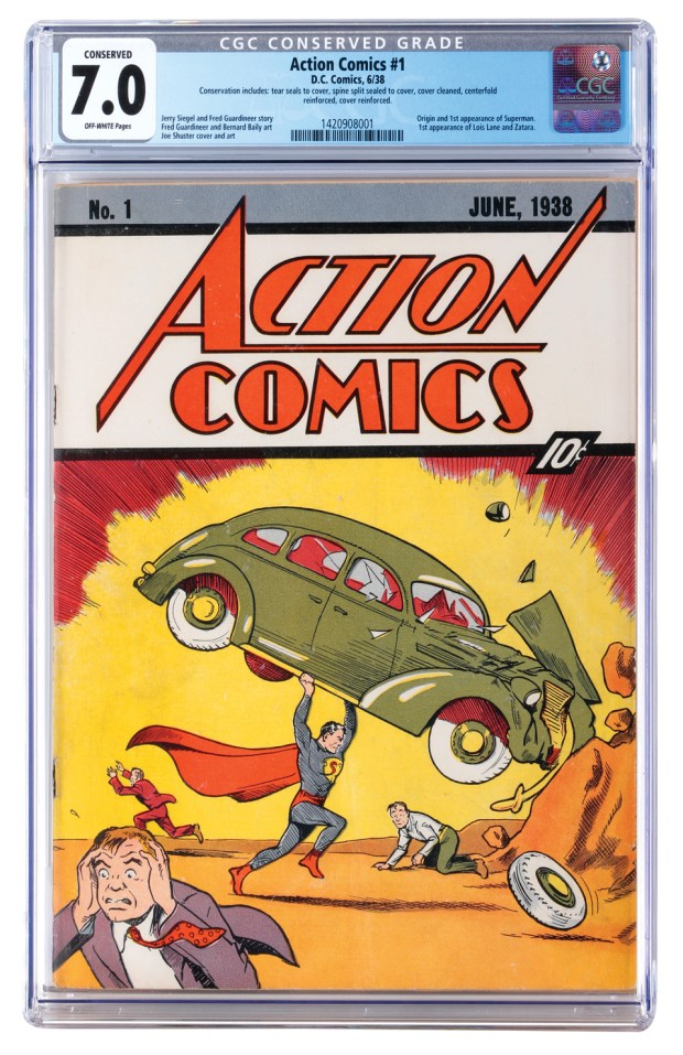 "This image released by Profiles in History shows a June 1938 ""Action Comics"" issue No. 1, one of many Superman items up for auction on Dec. 19, 2017, in Calabasas. (Profiles in History via AP)"