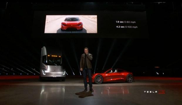Elon Musk unveiled Tesla's roadster at the design studio in Hawthorne. Credit Tesla