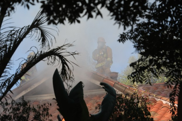 Firefighters were called to the blaze in the 5400 block of Middlecrest Road just before 1 p.m.. Photo by Chuck Bennett/SCNGChuck Bennett/Daily Breeze/SCNG