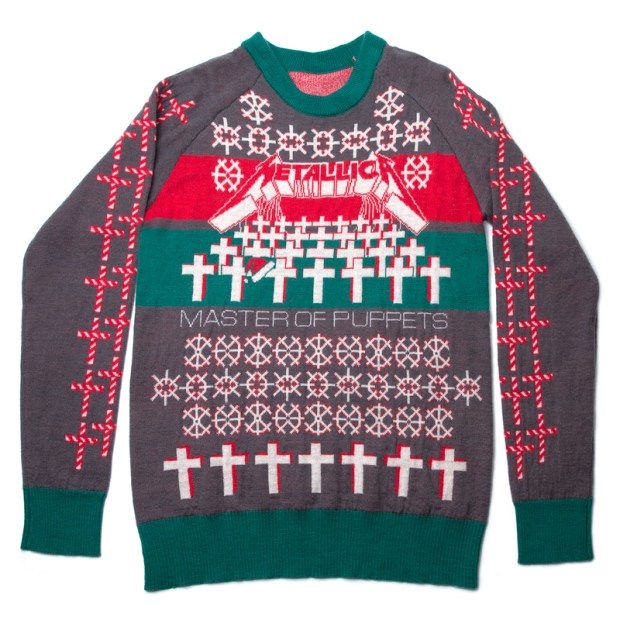 """Metal band Metallica released its limited-edition """"Master of Puppets"""" holiday sweater ($89.99) via its offiical website. (Photo courtesy of metallica.com)"""
