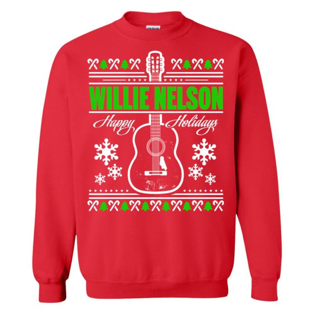 Fans of country music legend Willie Nelson can celebrate the season in a cozy holiday-themed sweater ($23.99). (Photo courtesy of willienelson.com)