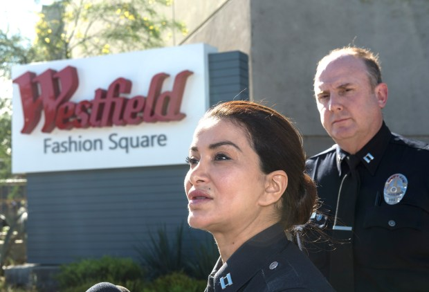 LAPD Capt., Lillian Carranza addresses the media at Westfield Fashion Square in Sherman Oaks on Thursday, Nov. 30, 2017. (Photo by Ed Crisostomo, Los Angeles Daily News/SCNG)