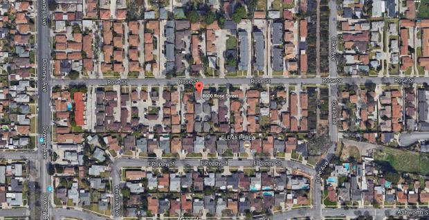A gunman killed a 16-year-old boy and wounded a man in his 20s late Monday, Nov. 13, 2017, on the 8600 block of Rose Street near Downey Avenue in Bellflower. (Google Maps)