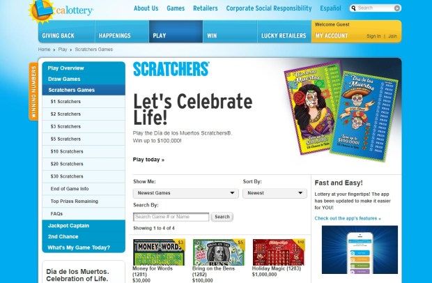 California Lottery players who purchased Scratchers tickets in LA and Culver City each won $750,000.
