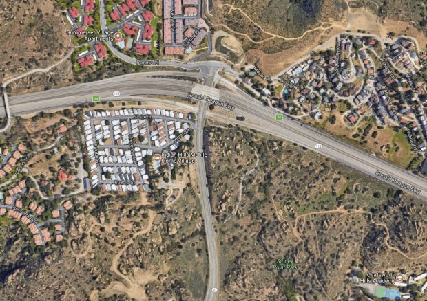 A man was killed early Tuesday, Nov. 21, 2017, after he exited his disabled pickup and a car struck it, causing his truck to strike him and send him over the center divider of the 118 Freeway near Topanga Canyon Boulevard, where he was then struck by a motorcycle on the other side of the roadway. (Google Maps)